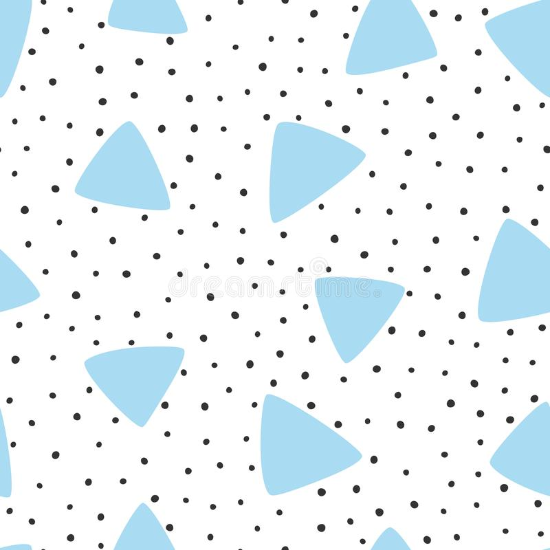 Onregelmatige met de hand getrokken stip en driehoeken Modern Naadloos Patroon stock illustratie