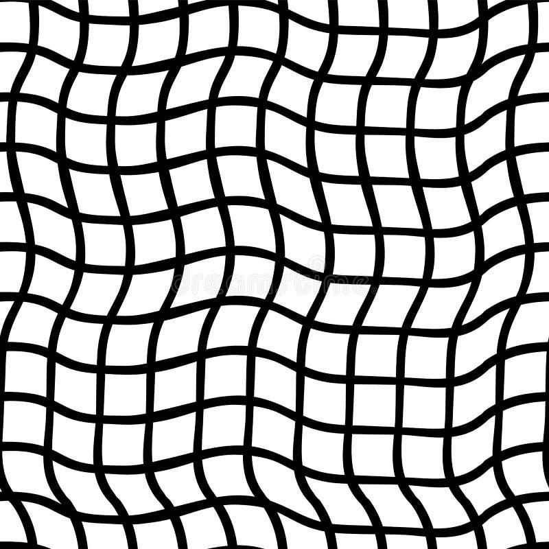 Onregelmatige zwart-witte plaiden Naadloos vectorpatroon Optische illusie Perfectioneer voor achtergronden royalty-vrije illustratie