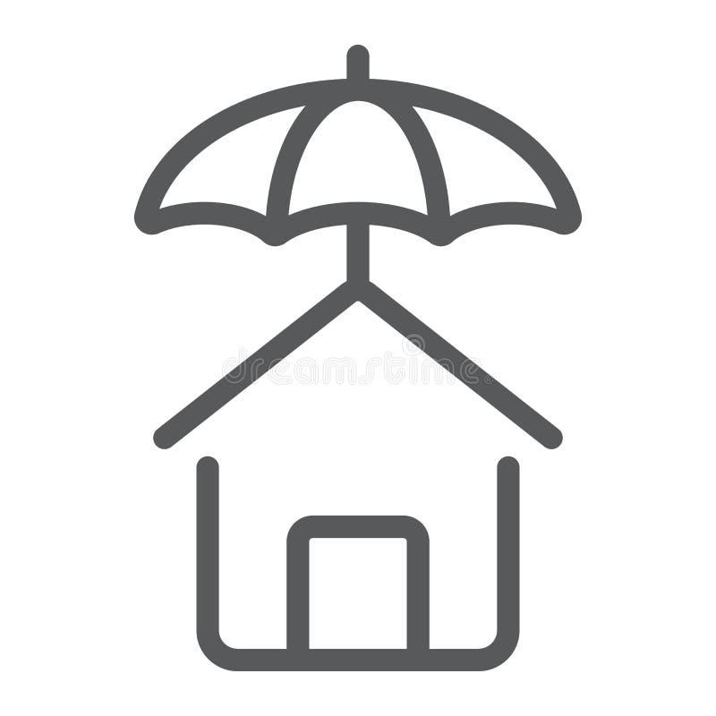 Onroerende goederen de lijnpictogram, en huis van de huisbescherming vector illustratie