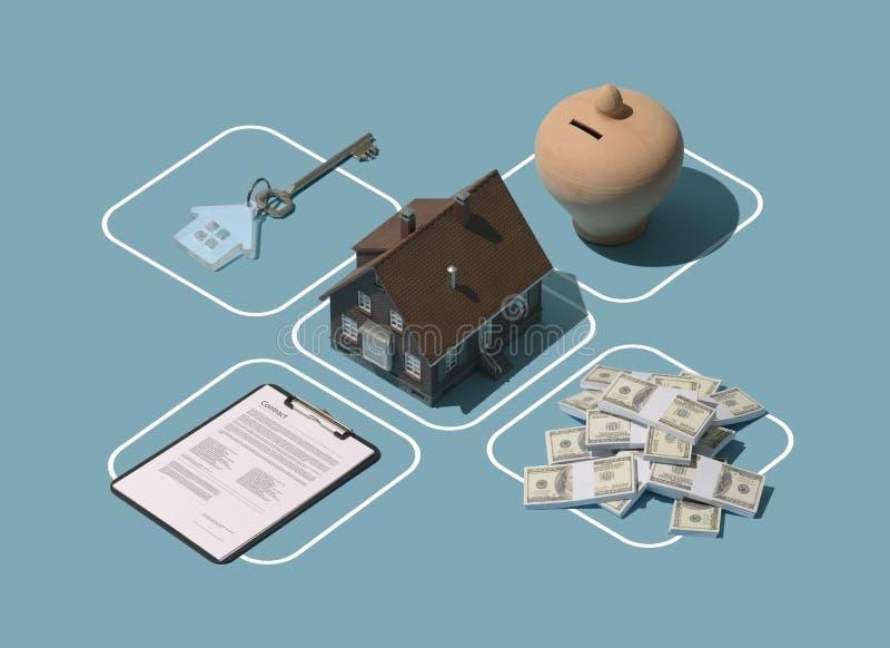 Onroerende goederen en huiseigendom stock illustratie