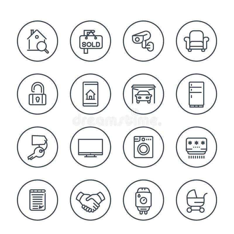 Onroerende goederen, flats voor huur, de pictogrammen van de verkooplijn royalty-vrije illustratie