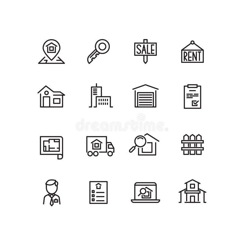 Onroerende goederen, huis, bezit voor verkoop, dunne de lijn vectorpictogrammen van de onderzoeksflat vector illustratie