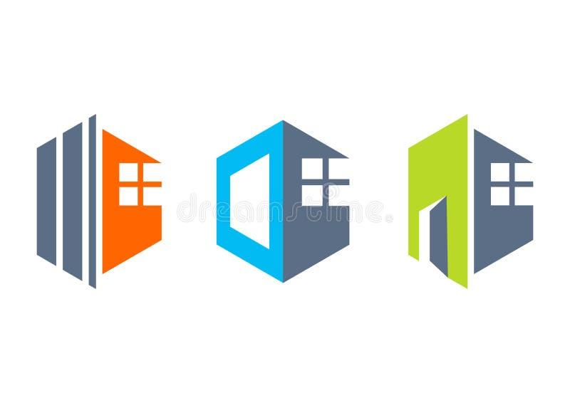 onroerende goederen huis, huis, embleem, bouw de bouwpictogrammen, inzameling van het symbool vectorontwerp van het flathuis stock illustratie