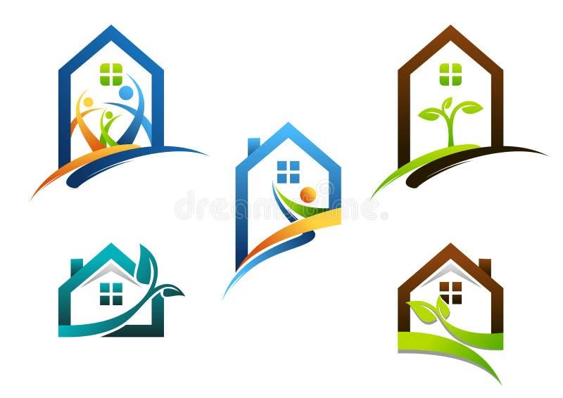 Onroerende goederen huis, huis, embleem, flatgebouwpictogrammen, inzameling van het symbool vectorontwerp van het bouwhuis royalty-vrije illustratie