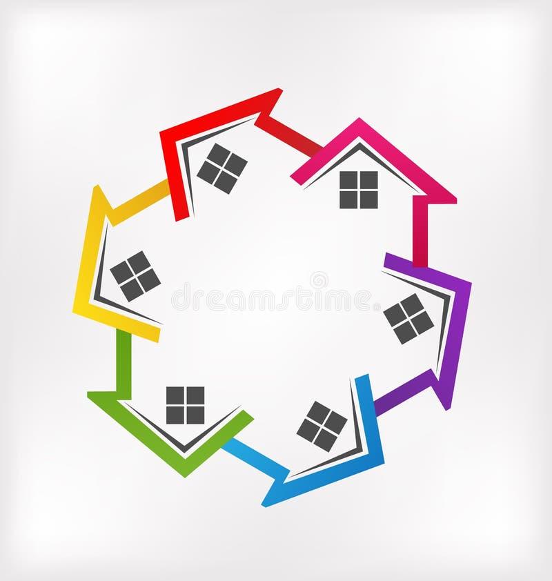 Onroerende goederen huizen stock illustratie