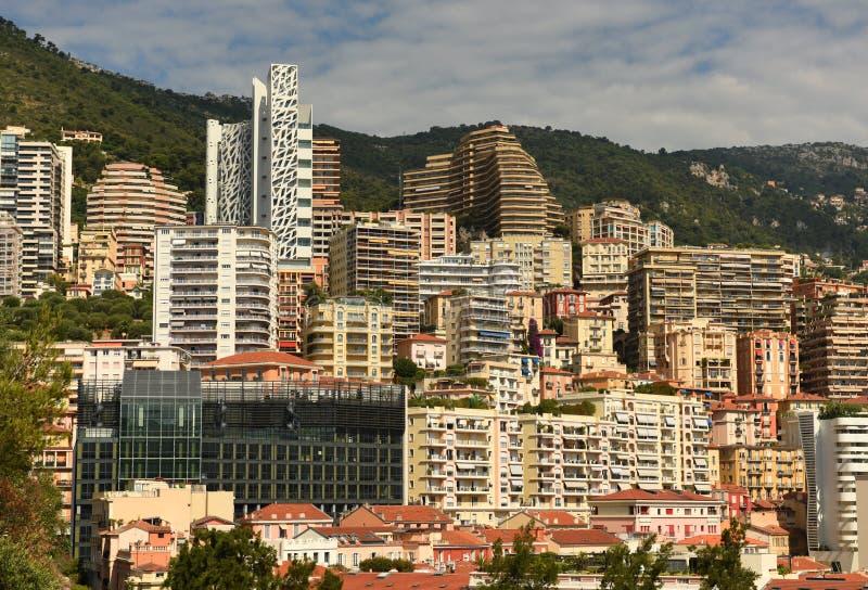 Onroerende goederen Monaco en Beausoleil, Kooi D 'Azur van Franse Riviera stock foto's