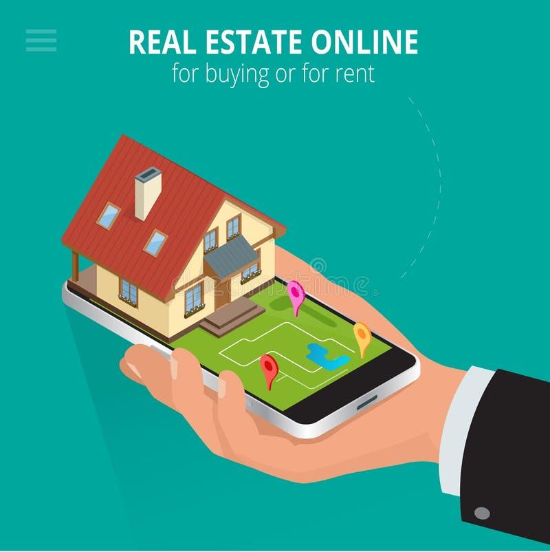 Onroerende goederen online voor het kopen of voor huur De mens die met smartphone werken zoekt een huis voor het kopen of voor hu vector illustratie