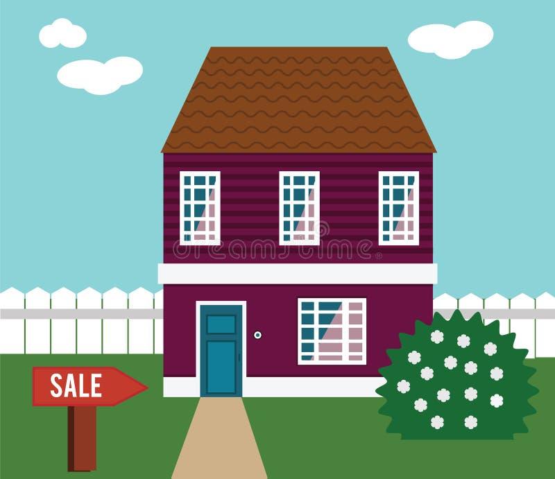 Onroerende goederen op verkoop Huis, plattelandshuisje, huis in de stad, herenhuis vectorillustratie stock illustratie