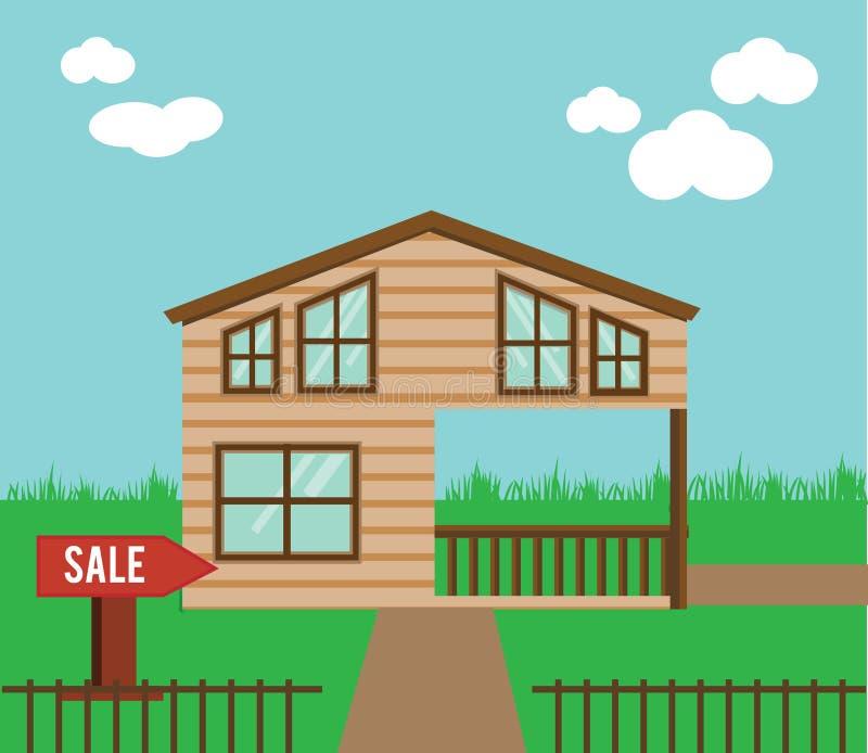 Onroerende goederen op verkoop Huis, plattelandshuisje, huis in de stad, zoete huis vectorillustratie vector illustratie