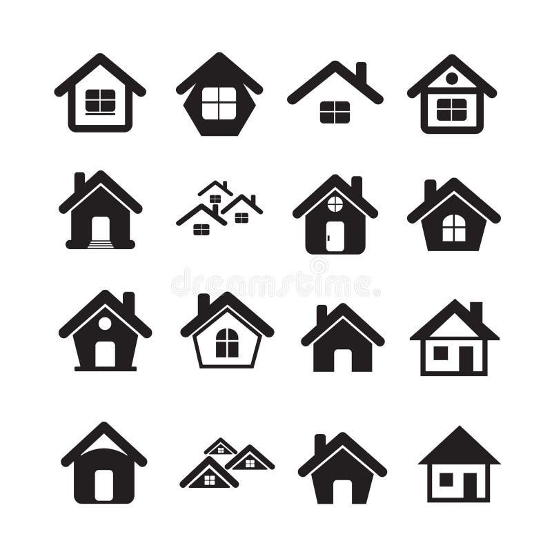 Onroerende goederen van het huispictogram Geplaatst voor website stock illustratie