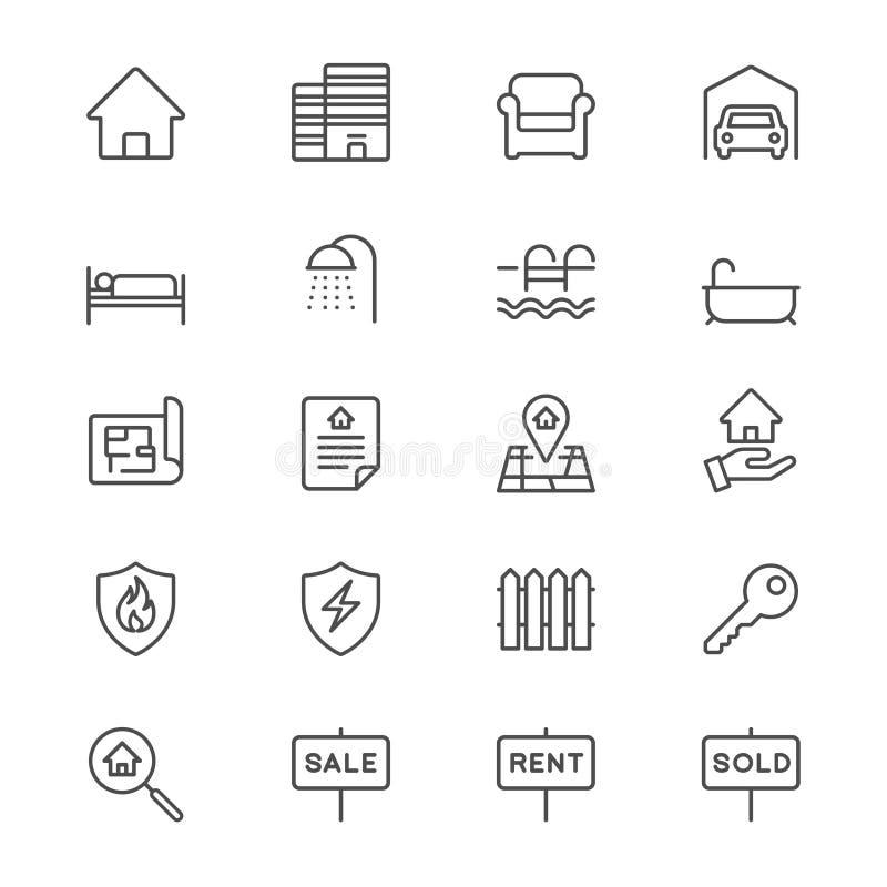 Onroerende goederen verdun pictogrammen royalty-vrije illustratie