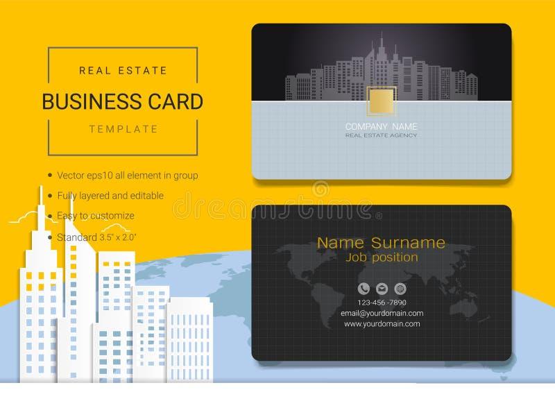 Onroerende goederenadreskaartje of van de naamkaart malplaatje royalty-vrije illustratie