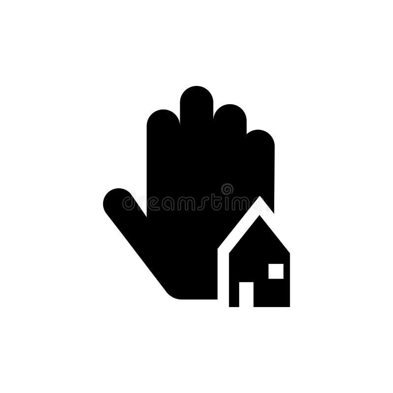 Onroerende goederenbedrijfshuis op een vectordieteken en een symbool van het handpictogram op witte achtergrond, Onroerende goede stock illustratie