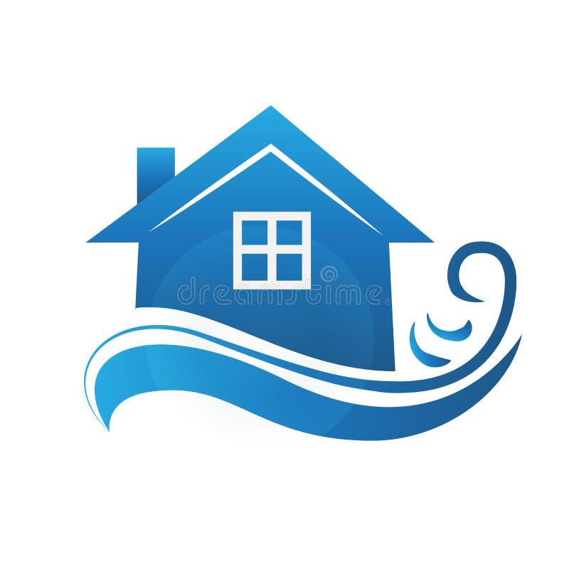 Onroerende goederenblauw huis vector illustratie