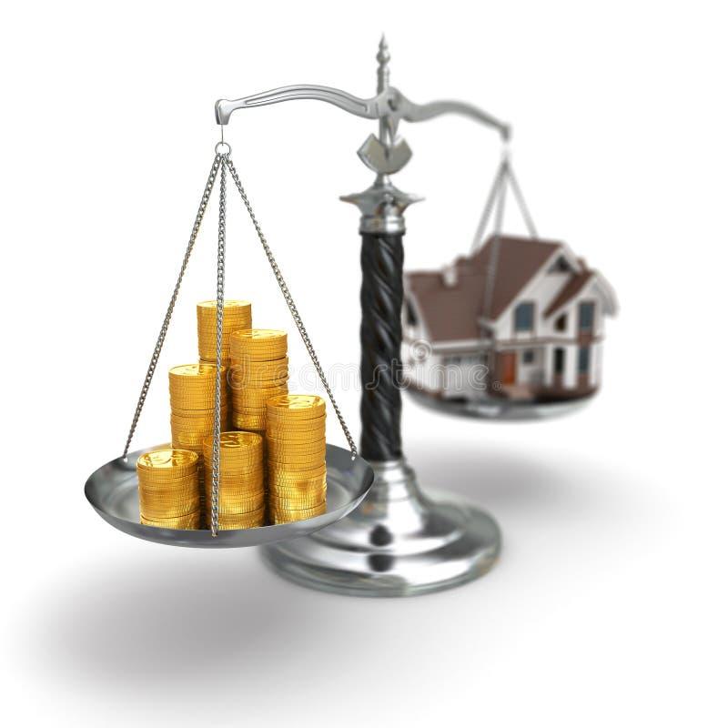 Onroerende goederenconcept. Huis en geld op schaal. stock illustratie