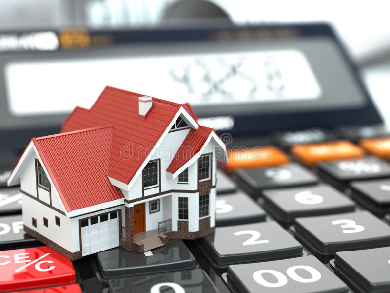 Onroerende goederenconcept. Huis op calculator. Hypotheek. vector illustratie