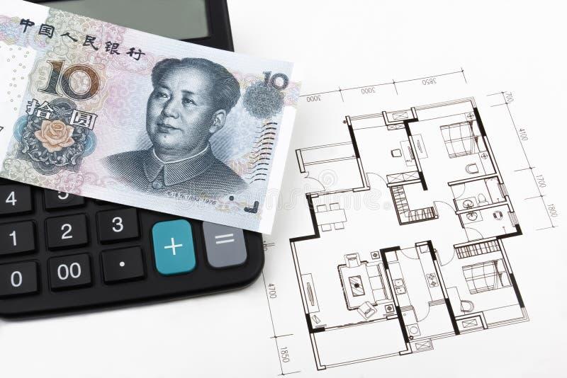 Onroerende goederenconcept met Chinees geld (RMB) royalty-vrije stock foto's