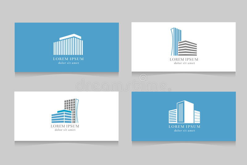 Onroerende goederenembleem met het ontwerp van het adreskaartjemalplaatje royalty-vrije illustratie
