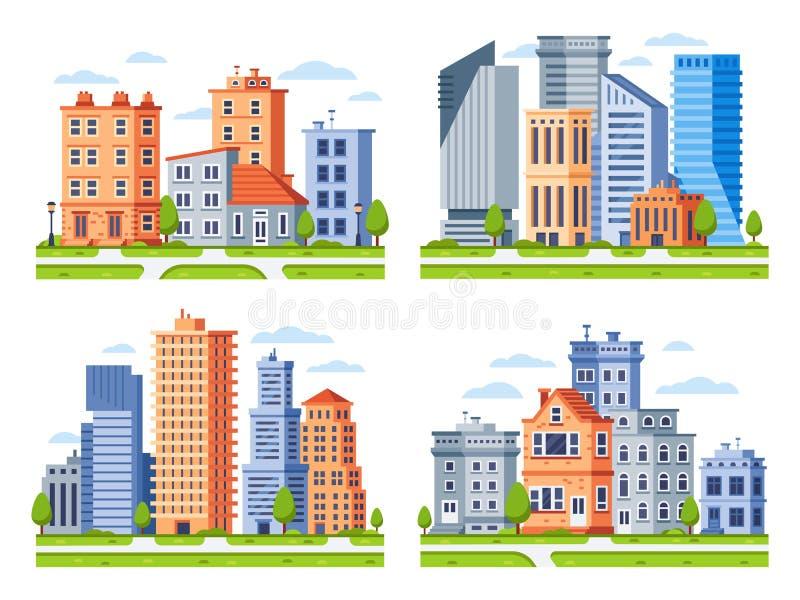 Onroerende goederengebouwen De stad huisvest cityscape, de bouw van het stadsflatgebouw en stedelijke woondistrictsvector royalty-vrije illustratie