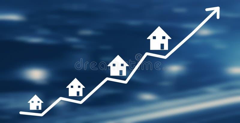 Onroerende goederengrafiek De groei van de huismarkt vector illustratie