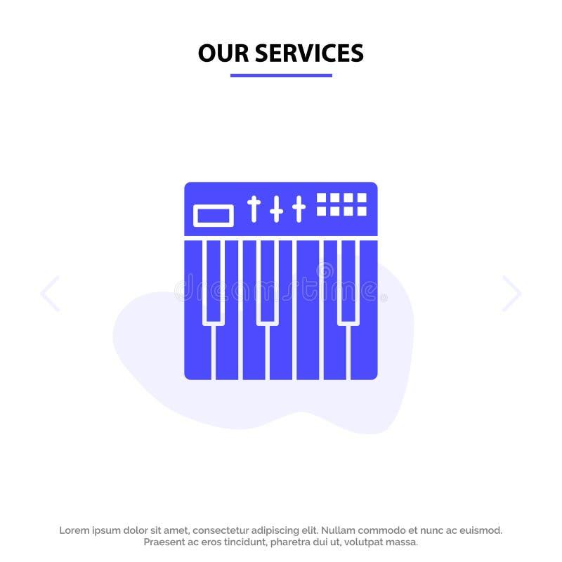 Ons de Dienstencontrolemechanisme, Hardware, Toetsenbord, Midi, van het het Pictogramweb van Muziek Stevig Glyph de kaartmalplaat vector illustratie