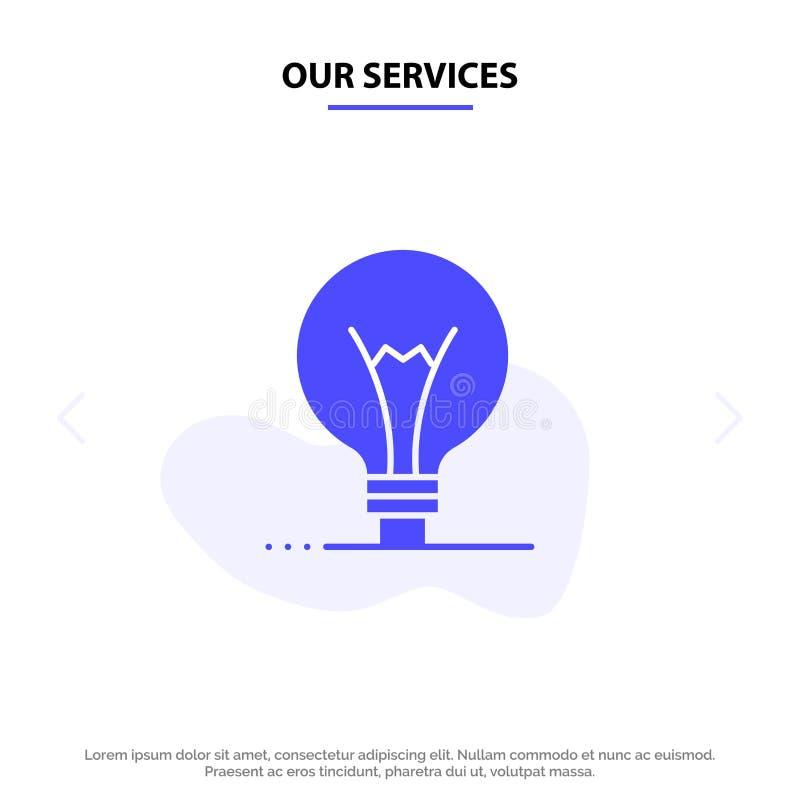 Ons de Dienstenidee, Innovatie, Uitvinding, van het het Pictogramweb van gloeilampen Stevig Glyph de kaartmalplaatje vector illustratie