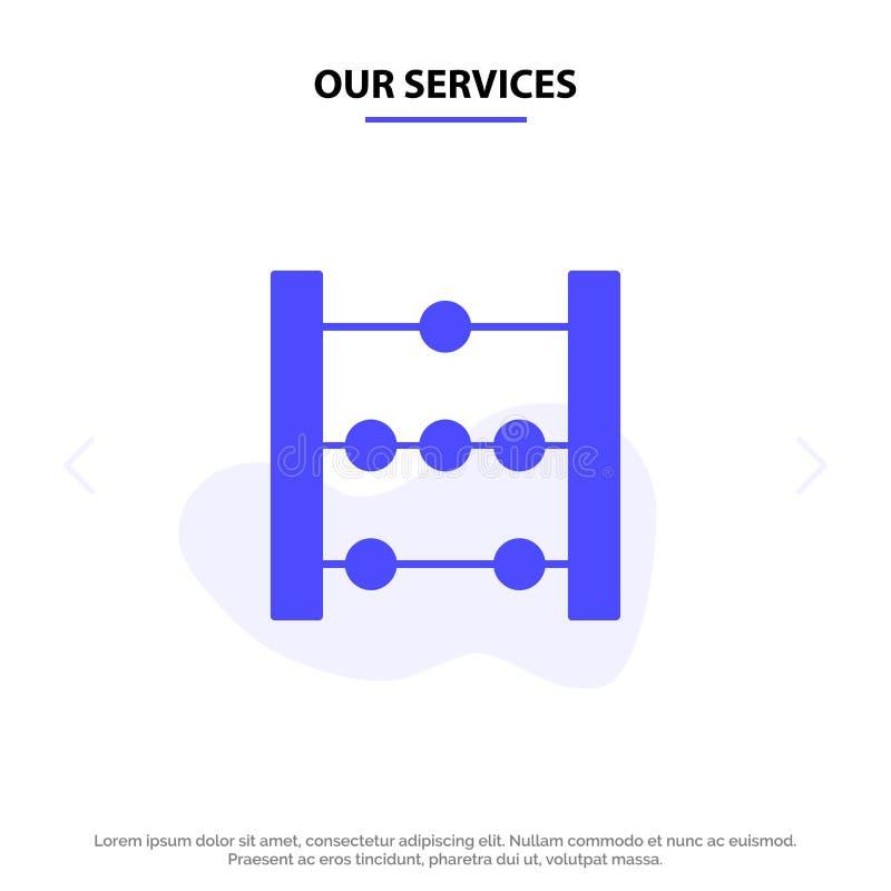 Ons de Dienstentelraam, Onderwijs, van het het Pictogramweb van Wiskunde Stevig Glyph de kaartmalplaatje royalty-vrije illustratie