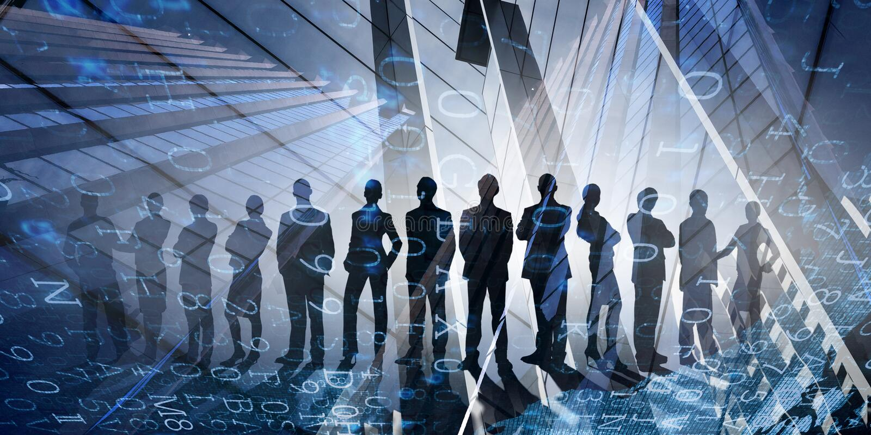 Ons succesvol commercieel team stock foto's
