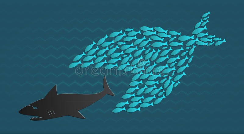 Ons verenigen wij: Groot eet Weinig Vis Grote Vissen vector illustratie