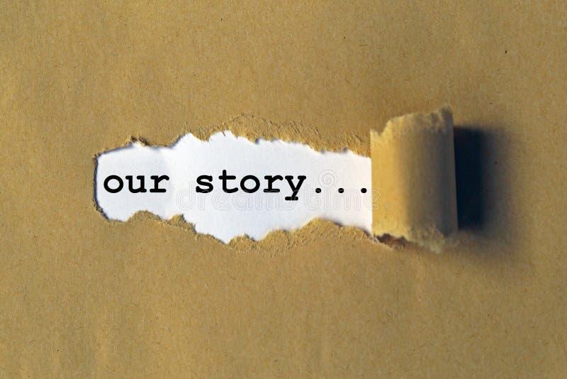 Ons verhaal stock fotografie