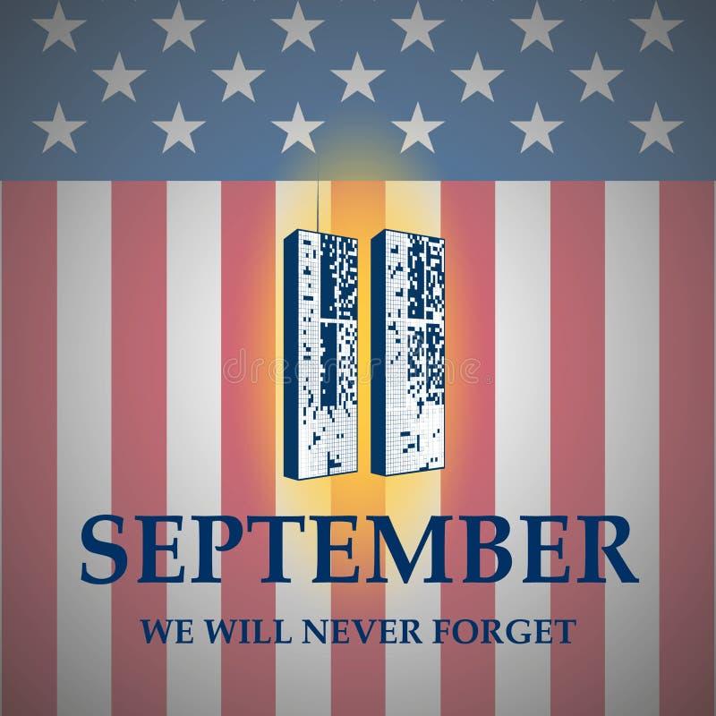 ons verzegelen en het ontwerp van de bannerillustratie 11 september Wij zullen nooit vergeten royalty-vrije illustratie