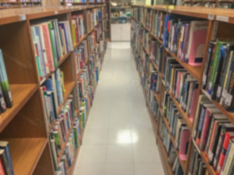 Onscherp van bibliotheek in universiteit royalty-vrije stock foto