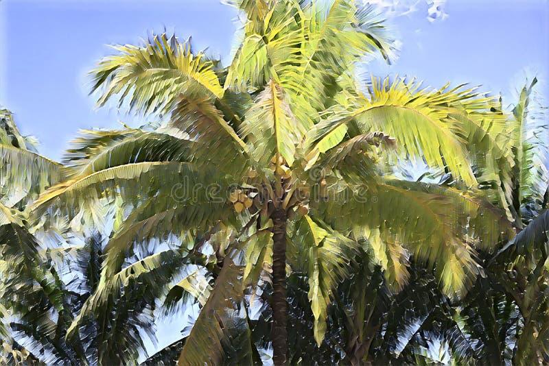 Onscherpe palm op zonnige hemel De tropische aard defocused landschap De digitale illustratie van het Cocopalmblad royalty-vrije stock afbeelding