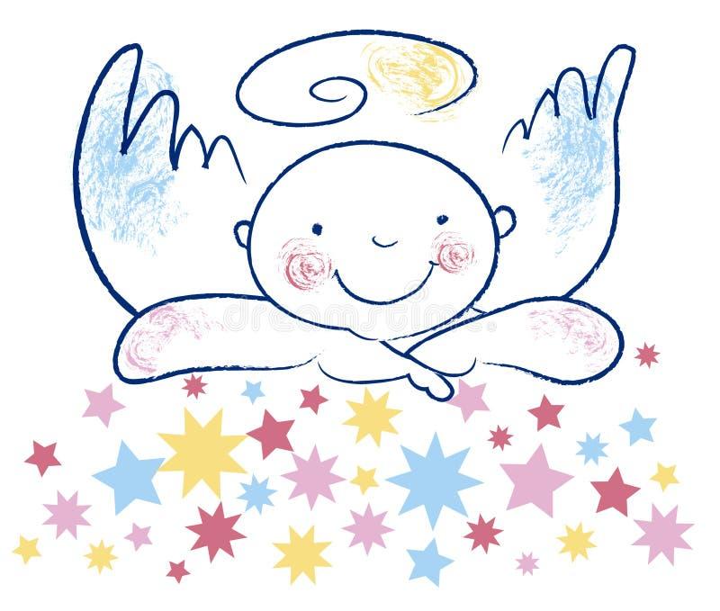Onschuldige engel en sterren vector illustratie