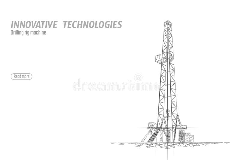 Onshore Oil Gas Drilling Rig. Raw material economy finance business concept. Petroleum industrial well machine ecology vector illustration
