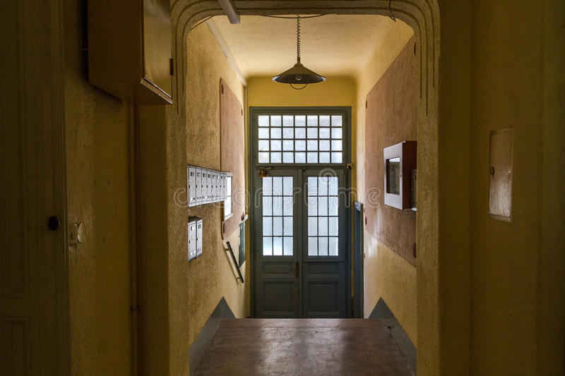 Onside of Entrance Hall Of House front door. Entrance Hall Of House front door from inside stock photo