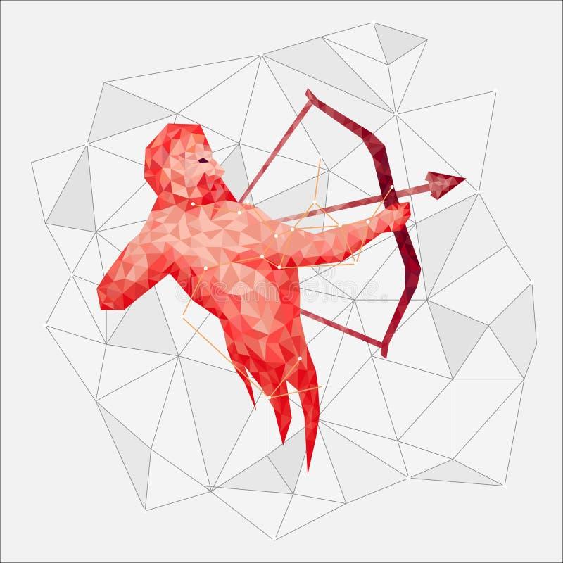 Onstellation ¡ Ð красного Стрелца с протягиванной тетивой и стрелки в полигональном стиле иллюстрация вектора
