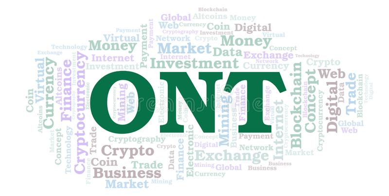 ONT或本体论cryptocurrency硬币词云彩 向量例证