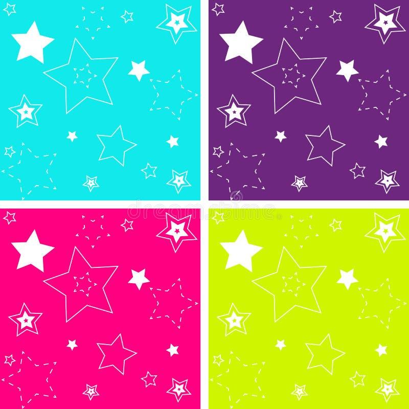 4 ont isolé le profil sous convention astérisque sans couture dans des couleurs brillantes illustration stock