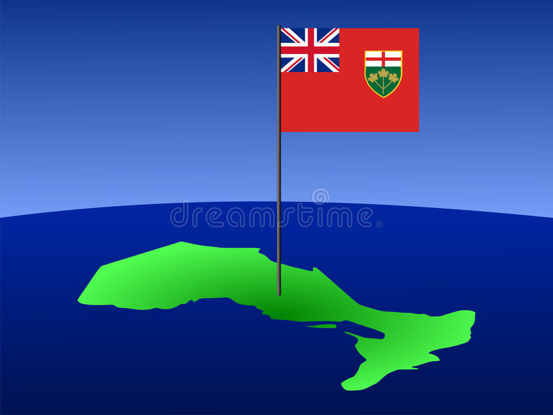Ontario with flag. Map of province of Ontario with their flag stock illustration