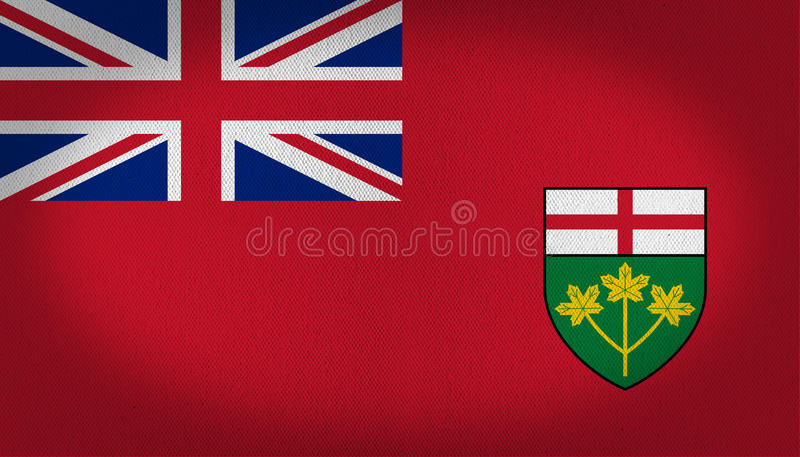 Ontario flag. Canadian region Ontario flag, small british flag in the first quarter of the flag over a red back and a small shield shape in the lower right side royalty free illustration