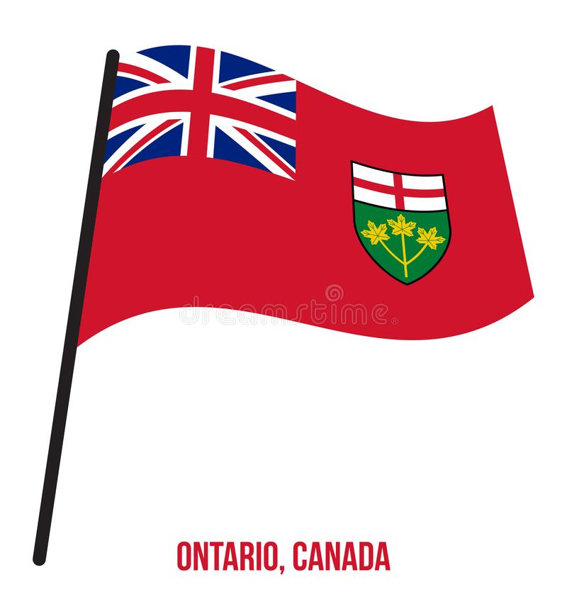 Ontario Flag Waving Vector Illustration on White Background. Provinces Flag of Canada. Correct Size, Proportion and Colors vector illustration