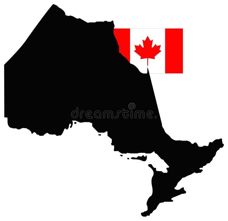 Ontario-Karte mit kanadischer Flagge - Provinz gelegen in Osten-zentralem Kanada stock abbildung
