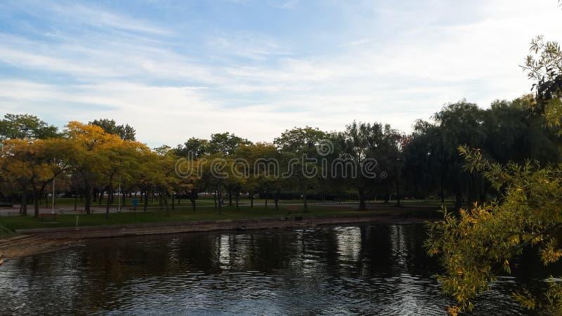 Ontario lake canal inside Toronto Island Park royalty free stock photography
