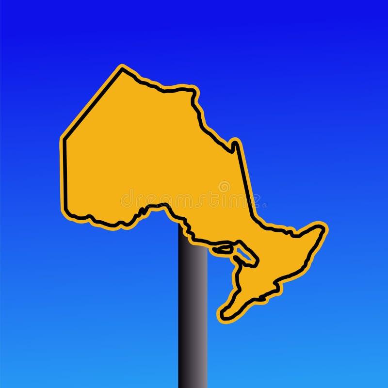Ontario map warning sign. Yellow Ontario map warning sign on blue illustration royalty free illustration