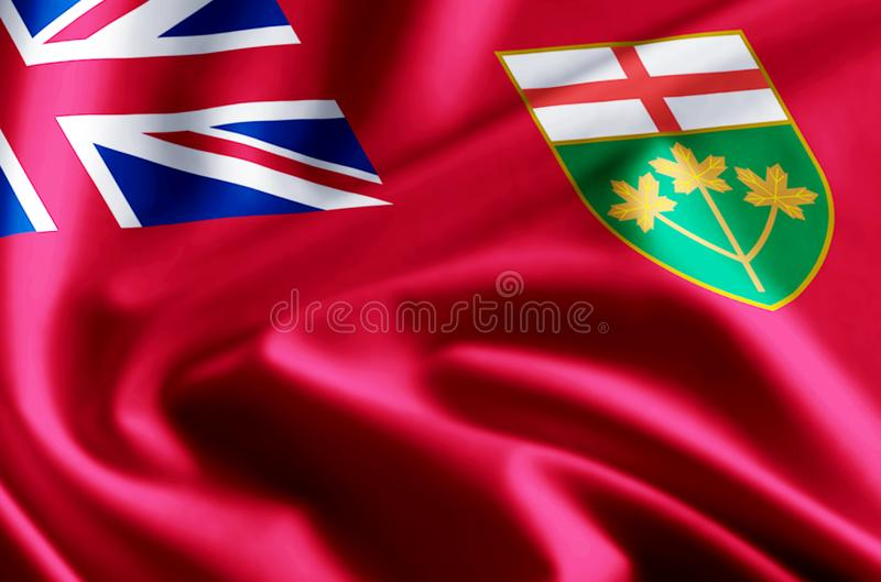 Ontario flag illustration. Ontario waving and closeup flag illustration. Perfect for background or texture purposes stock illustration