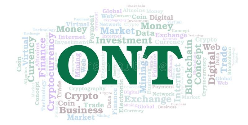 Ontario ou nuage de mot de pièce de monnaie de cryptocurrency d'Ontology illustration de vecteur