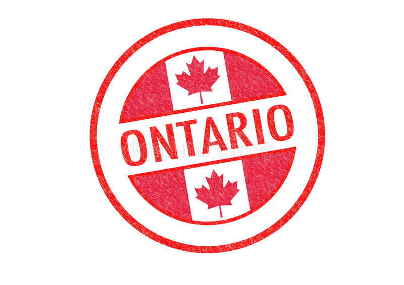 ONTARIO. Passport-style ONTARIO rubber stamp over a white background royalty free illustration