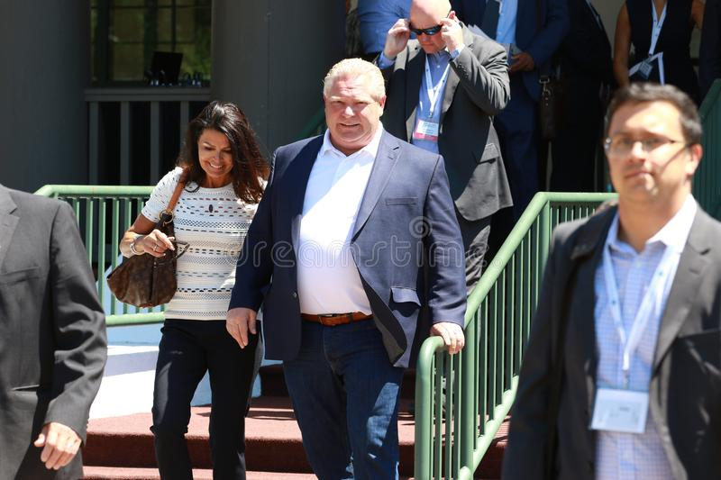 Ontario Premier Doug Ford Smiles. After leaving a news conference in New Brunswick. The premier was attending the Canadian Premiers Meeting in Saint Andrews stock photo