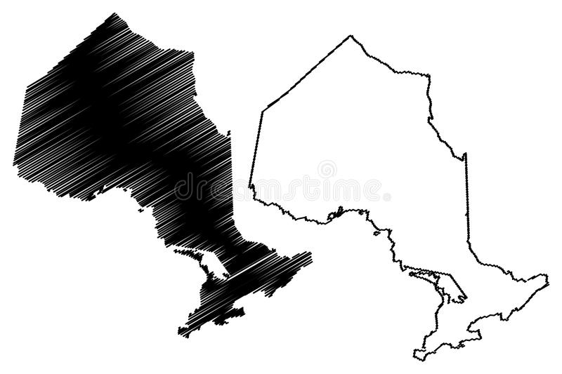 Ontario Canada map vector. Ontario provinces and territories of Canada map vector illustration, scribble sketch Ontario map royalty free illustration